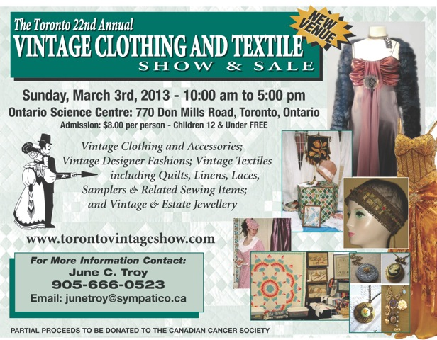 Toronto Vintage Clothing Show and Sale March 3rd at Ontario Science Centre